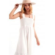 vestido-midi-de-verano-de-popeline-blanco-con-detalle-fruncido